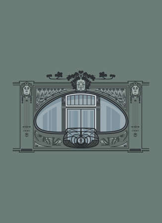 Art Nouveau window with decorative details. Jugendstil window frame. Building facade with a french balcony. 矢量图像