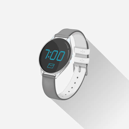 Smartwatch with digital display. Hand watch showing time and incoming message.