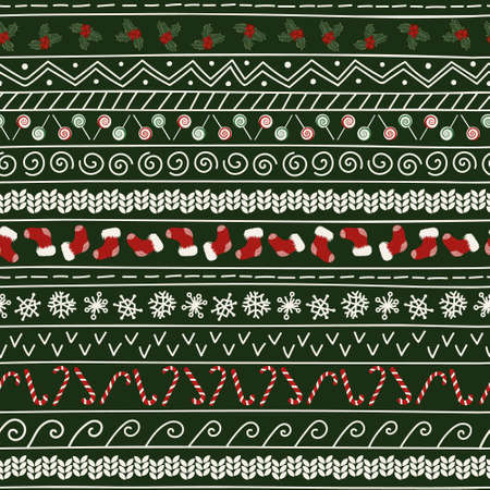 Horizontal Christmas seamless pattern. Christmas ornament for greeting cards and wrapping paper. Festive print with Christmas symbols. 矢量图像