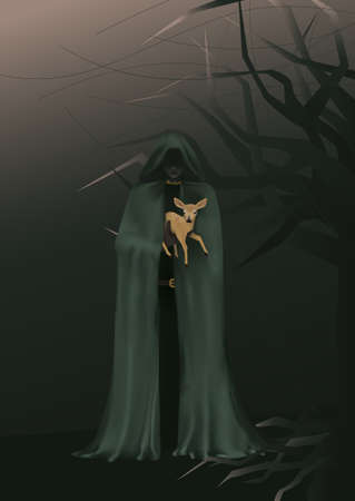 Forest druid holds a baby deer. Fairy character keeping a fawn in safe. Fantasy illustration.