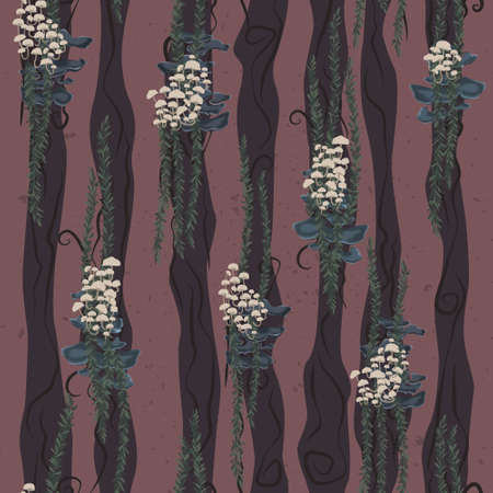 White wood mushrooms and hanging plants seamless pattern. Floral forest repeating pattern. Stylized nature pattern.