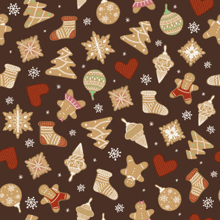 Gingerbread men, Christmas tree toys and knitted hearts in a seamless pattern. Classic look Christmas pattern with snowflakes and holiday symbols made of gingerbread. December holiday pattern.