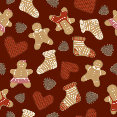 Gingerbread men, pine cones and knitted hearts in a seamless pattern. December holiday symbols in a repeating pattern. Red Christmas pattern.