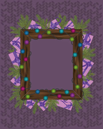 Christmas frame template with traditional holiday decor. Wooden frame with colorful lights over knitted background. Blank frame with presents. 矢量图像