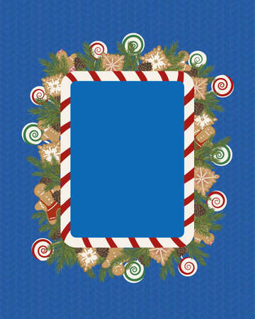 Christmas frame template with traditional holiday decor. Blank holiday frame decorated with sweets and ginger cookies. 矢量图像