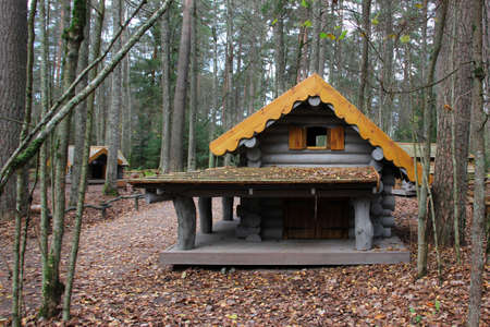 Wooden playhouse for kids. Log house on a playground. Carved wood house for kids' leisure activity. 免版税图像