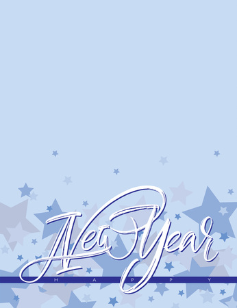 New Year handwritten composition with light blue shades and white stars on azure background