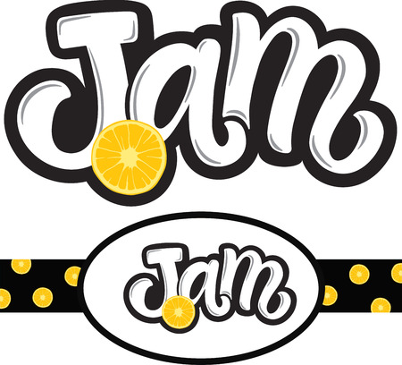 Handwritten title for jam with orange illustration and label for pack with this logo