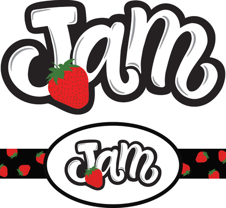 Handwritten title for jam with strawberry illustration and label for pack with this logo  イラスト・ベクター素材