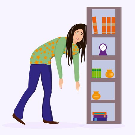 Tired woman, sleepy mood, weak health, mental exhausted, vector flat illustration. Woman with low energy battery.
