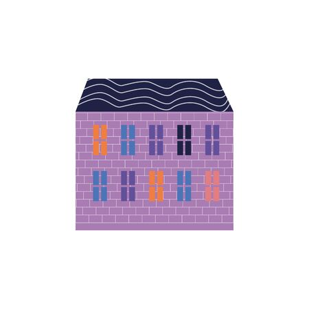 Purple color house in flat style with two floors and blue roof on white background. White background. Urban landscape.
