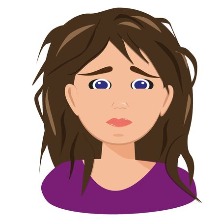 Female Stress. Exhausted portrait on white backdrop. Depression concept of upset woman feeling anxiety, loneliness. Illustration