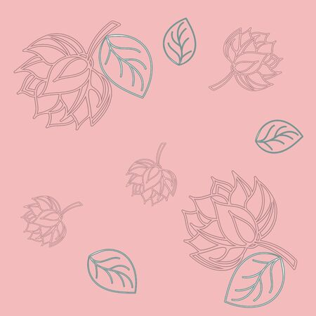 Lotus seamless pattern flower in vintage style. Soft and pastel color. Coral lotos lotus on color background.