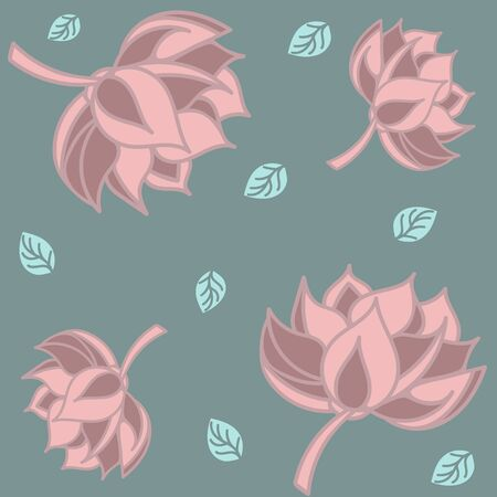 Lotus seamless pattern flower in vintage style. Soft and pastel color. Coral and pink lotos lotus on color background.