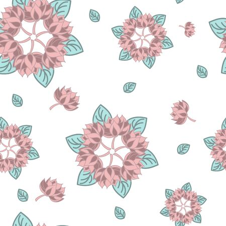 Lotus seamless pattern flower in vintage style. Soft and pastel color. Coral and pink lotos lotus on white background.