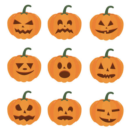 Pumpkin halloween holiday. Isolated vector sign symbol. Set of Halloween pumpkins, funny faces. Autumn holidays.