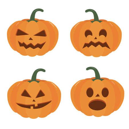 Pumpkin halloween holiday. Set of Halloween pumpkins, funny scared faces. Isolated vector sign symbol. Holidays. Иллюстрация