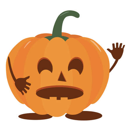Pumpkin halloween holiday. Halloween pumpkin, funny scared face. Isolated vector sign symbol. Autumn holidays