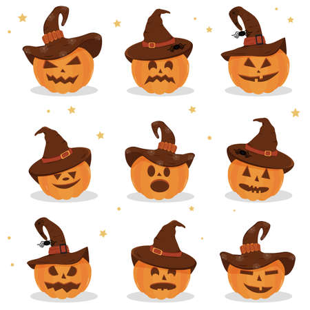 Set of Halloween Pumpkins with a hat. Halloween pumpkin, funny scared face in a hat. Light background. Cartoon icon. 矢量图像