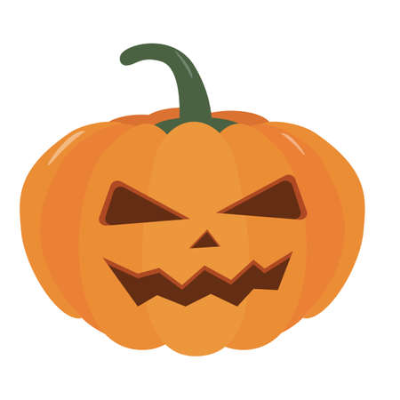 Pumpkin halloween holiday. Halloween pumpkin with funny scared face. Isolated vector sign symbol. Autumn holidays.