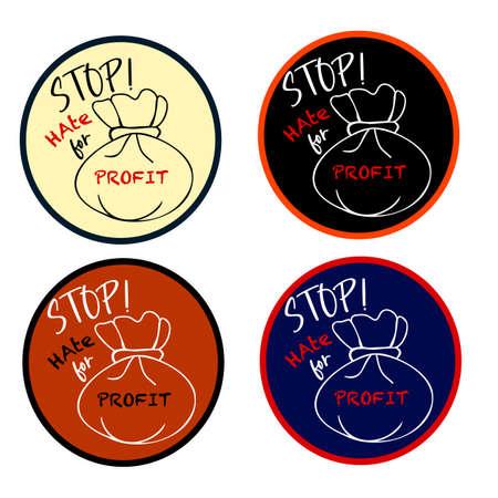 Stop hate for profit sticker set. Vector illustration. Protest sign design Иллюстрация