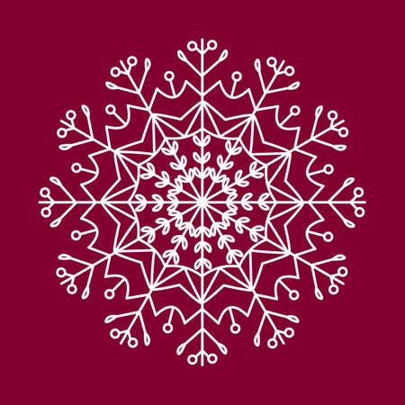 Snowflake white vector icon color red background. Winter white Christmas snowflake crystal element. Illusztráció
