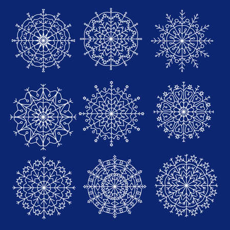 Snowflake white vector icon set on color blue background. Winter white Christmas snowflake crystal element. Illusztráció