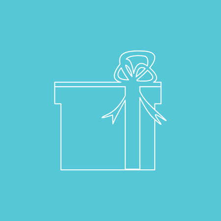 Gift Boxes outline white color on color background. Holiday Christmas gift box. Present box icon. Xmas present.