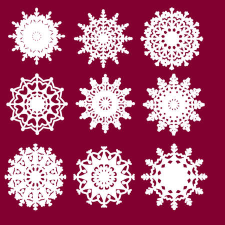 Vector snowflake laser cut template. Cutout decoration for Christmas or New Year. Snowflakes set. Snowflakes set.