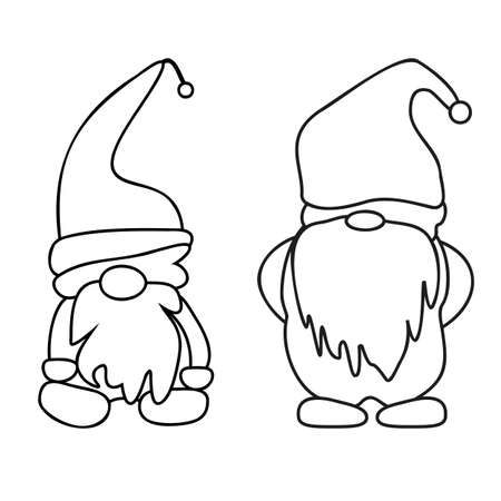 Doodle illustration with gnome outline christmas. Vector gnomes cartoons, black silhouettes isolated on white. Outlined for coloring book Vector outline icon. Holiday decoration. Linear set.