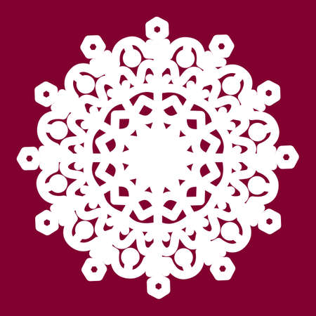 Snowflake laser cut template Vector. Cutout decoration for Christmas or New Year. Background for winter and Christmas theme.