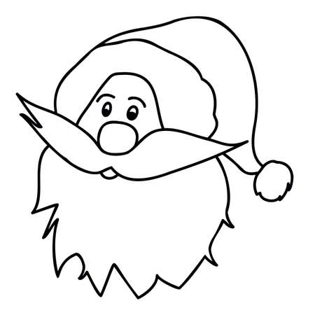 Santa claus face beard mustache outline christmas in retro style on white background. Line art. New year outline thin line vector icon black on white background