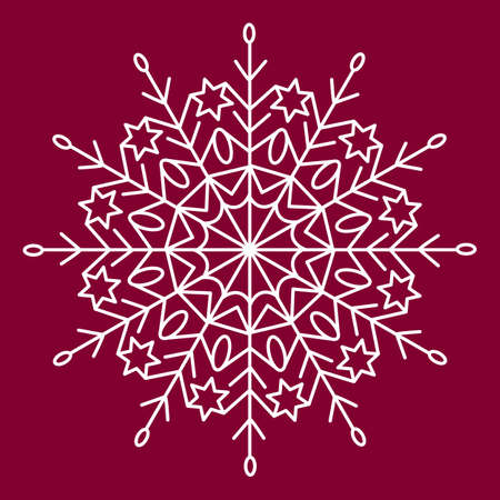 Snowflake white vector icon color red background. Winter white Christmas snowflake crystal element. 向量圖像