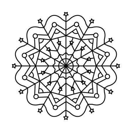 Christmas Mandala. Snowflake Mandala. Round Element For Coloring Book. Black Lines on White Background.