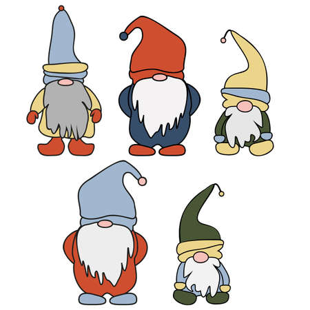 Set of cute cartoon Gnomes. Vector illustration flat design of a fairytale characters of dwarfs isolated on white.