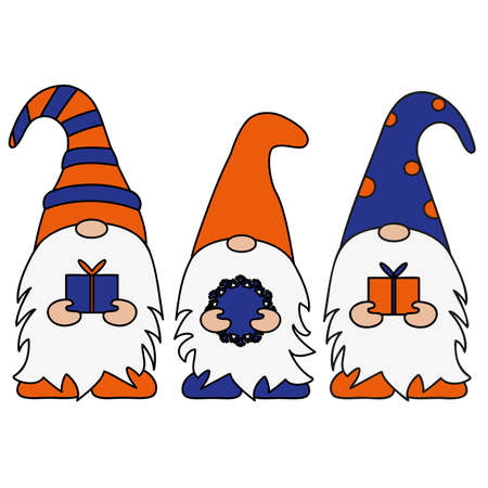 Set of Scandinavian Christmas Gnomes. Vector illustration flat design characters of dwarfs isolated on white.