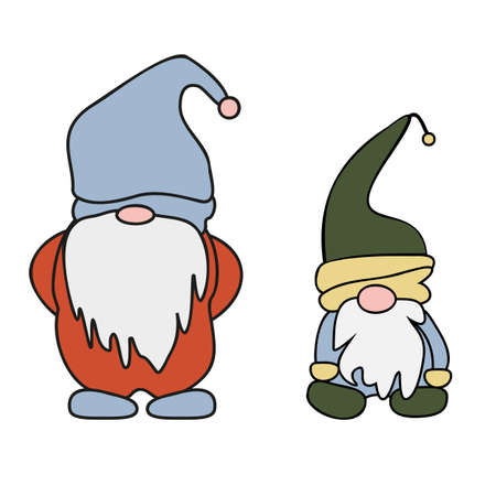 Set of cute cartoon Gnomes. Vector illustration flat design of a fairytale or fantastic characters of dwarfs isolated on white. Cartoon vector illustration. Ilustracja
