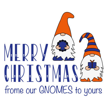 Christmas Card, Seasons greetings, cute Christmas gnomes on a white background. Flat design of a characters of dwarfs.