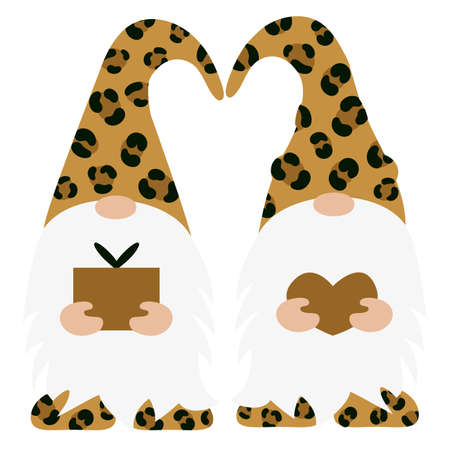 Set of Leopard Gnomes. Vector illustration flat design of a fairytale characters of dwarfs isolated on white.