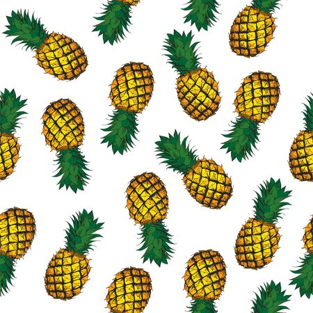 Ripe pineapple on a white background.Seamless vector pattern.