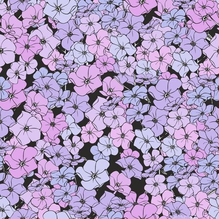 Small pink-purple flowers. Seamless vector pattern.
