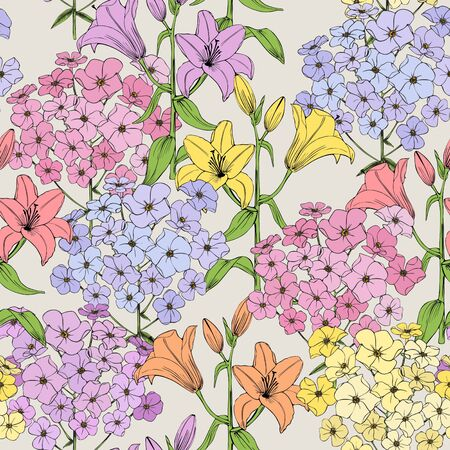 Summer flowers. Seamless vector pattern. Colorful lilies and phlox on ivory background.