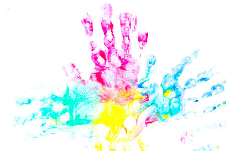 abstract background with bright multicolored paint handprints. collection of colorful child hand prints on white background