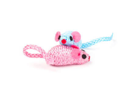 two blue and pink toy mice for a pet cat isolated on white background, close-up