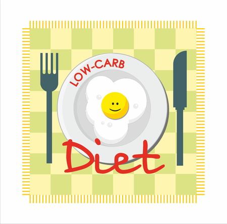 fried: Low-carb diet with fried egg Illustration