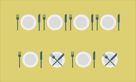 etiquette: Cutlery set etiquette - plate, fork, knife Illustration