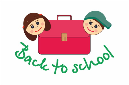satchel: Children and school satchel Illustration