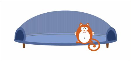 sits: Cat sits on the sofa Illustration