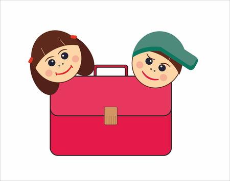 Children and school satchel