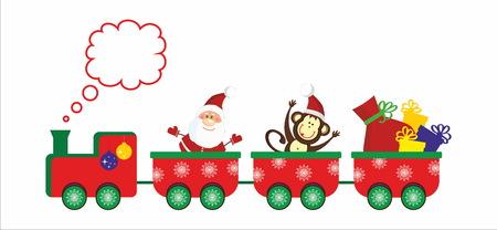 christmas train: Santa Claus and Mokey go on Christmas train Illustration